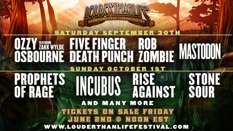 OZZY OSBOURNE, PROPHETS OF RAGE, FIVE FINGER DEATH PUNCH, ROB ZOMBIE AND INCUBUS HEADLINE LOUDER THAN LIFE